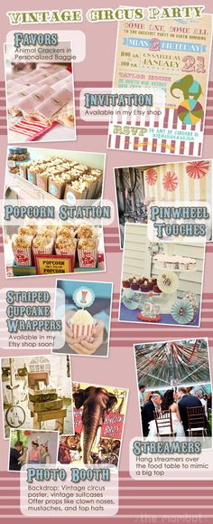 Vintage circus party inspiration {animal cracker favors, photo booth, and pinwheels}