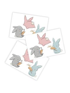 High quality temporary tattoos Spring Bunnies with cute hares eating carrot. Skin safe and non toxic kids friendly tattoos by Ducky street. Wooden Living Room Furniture, Cute Bunny, Bunny Rabbit, Body Stickers, Easter Wishes, Transparent Bag, Tattoo Set, Wooden Animals, Spring Festival