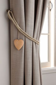Next Set of 2 Wooden Heart Tie Backs - Natural Curtain Tie Backs Diy, Curtain Ties, Home Curtains, Curtains With Blinds, Home Decor Furniture, Diy Home Decor, Rideaux Design, Living Room Decor, Bedroom Decor