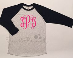 Monogram Baseball Tee - Monogrammed Raglan - Monogram Tee - Personalized Shirt - Full Monogram Vintage Black, Monogram Clothing, Must Haves, Unisex, T Shirts For Women, Baseball, Tees, Sleeves, Clothes