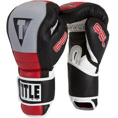 Gloves - Boxing 30102: Title Boxing Gel Rush Hook And Loop Bag Gloves - 16 Oz. - Black/Gray/Red BUY IT NOW ONLY: $130.99