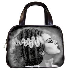 "Bride of Frankenstein Handbag, Double handles, measures approximately 9"" inches long. Single Zippered top closure. 2 additional interior pockets. 100% leather, image dye sublimated into surface so it won't bleed, crack, or fade. 8""(L) x 3.5""(W) x 6""(H)  www.shayneofthedead.com"
