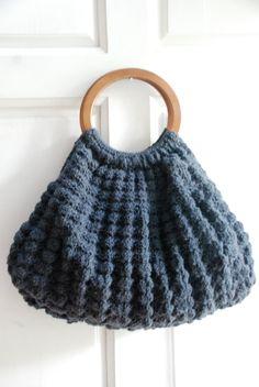 Crochet Dark gray tote bag. $85,00, via Etsy.