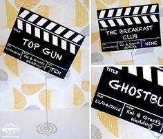 clapper board wedding table cards