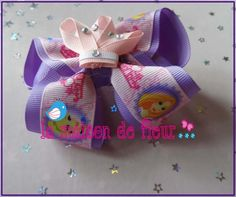 Little Girl Purple Princess Printed Ribbon crown Hair Bow $7.99