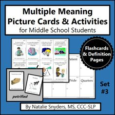 Great upper-level multiple meaning words activity for upper elementary and middle school students! http://www.teacherspayteachers.com/Product/Multiple-Meanings-Activities-for-Speech-Language-Therapy-Set-3-Middle-School-1046588