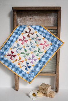 Pinwheel Miniature Quilt Wall hanging Table by CarolsStitching