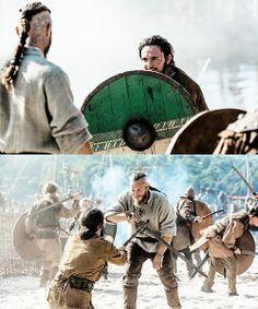 Vikings (series 2013 - ) Starring: Travis Fimmel as Ragnar Lothbrok and George Blagden as Athelstan.
