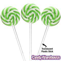 Swipple Pops Petite Swirly Ripple Lollipops - Green Lime: 48-Piece Box