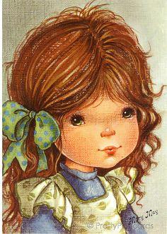 Big Eyed Girl Postcard, 70's