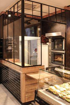 Green Kitchen: Designs, Models and Photos with Color! Bakery Shop Interior, Bakery Shop Design, Cafe Interior Design, Coffee Shop Design, Cafe Design, Design Design, Pizzeria Design, Small Restaurant Design, Deco Restaurant