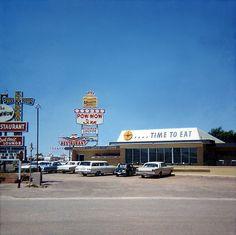 Restaurant at Pow Wow Inn, Tucumcari, New Mexico, USA, 1967