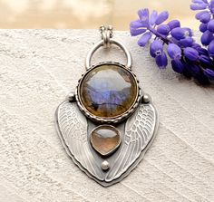 Vagabond- Silver Labradorite Wing Necklace in an Original One of a Kind Design, Talisman Necklace, Statement Necklace, Handmade Metalwork