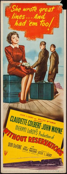 """Movie Posters:Comedy, Without Reservations (RKO, 1946). Insert (14"""" X 36""""). Comedy.. ... Image #1"""