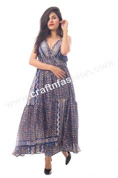 7bb917cf207 Blue Colored Printed Poly Silk Crepe Maxi Dress - Ankle Length Designer  Dress - Australian Style Beach Wear Maxi Dress - Indo Western Dress