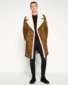 Man in ZARA Double-faced Coat Brown