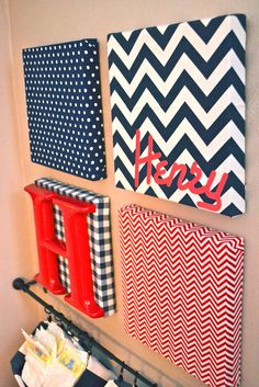 So cute and a unique twist to putting a name on the wall! Wall Art Canvas with letters: chevron, dot, plaid fabric DIY craft baby room nursery infant boy girl easy Fabric Covered Canvas, Fabric Canvas Art, Canvas Collage, Cuadros Diy, Diy And Crafts, Arts And Crafts, Diy Casa, Ideias Diy, Crafty Craft