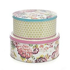 At home with Ashley Thomas - Set of two cream floral cake tins