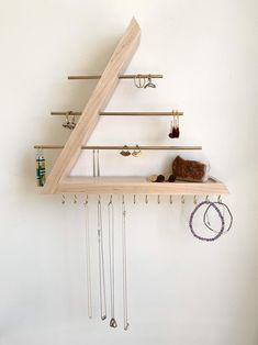 Maple Jewelry Organizer, Hardwood, Wall Mount floating Jewelry Holder for Necklace Earring, Bracelet and Ring, Gift for Her Wall Organization, Jewelry Organization, Jewellery Storage, Diy Jewelry Organizer Wall, Home Crafts, Home Projects, Diy Furniture, Bedroom Decor, Decoration