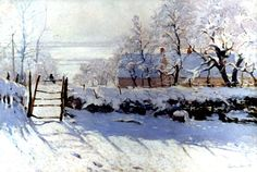 """The Magpie"" by Monet. This is one of my FAVORITE paintings! Nowhere in this painting does monet use white. It is all blues and pinks and yellows things like that to make the illusion of white and create the magical sun on snow effect. Amazing!"
