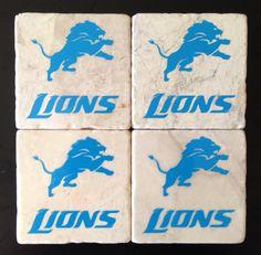 Detroit Lions Coaster Set on Etsy, $15.00