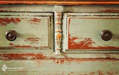 """K--miss_mustard_seed_distressed_back; She says, """"JMO but those with simpler forms with a more country look look better with more distressing, while ornate, carved pieces such as French Provincal look better with minor distressing and glaze."""""""