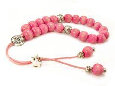 Pink Komboloi Worry Beads Pink Wood Beads by sunnybeadsbythesea