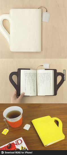 "♥ cup book cover with ""tea bag"" bookmark"