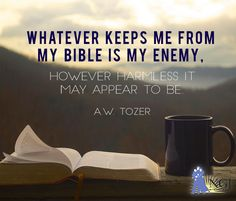 Whatever keeps me from my Bible is my Enemy. However harmless if may appear to be. Bible Verses Quotes, Bible Scriptures, Faith Quotes, Lyric Quotes, Movie Quotes, Wisdom Quotes, Quotes Quotes, Aw Tozer Quotes, Bible Truth