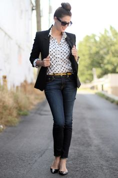 For a very causal look pair a fitted blazer, patterned button up blouse, and a pair of dark washed denim.