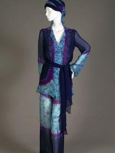 Tie dye ensemble (shirt, pants, scarves),  Halston,  American, 1970s,   Silk chiffon.  Gift of Marti Stevens, KSUM 1988.11.32 a-d
