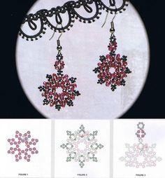 """Earrings """"red snowflakes."""""""