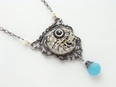 Steampunk Necklace watch movement gears pearls blue Agate aquamarine crystal silver filigree pendant #SteampunkNecklace  #SteampunkJewelry #SteampunkJewelrybyMariaSparks
