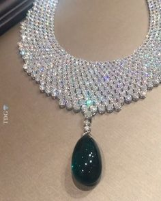 STENZHORN JEWELRY A diamond tapestry that feels like silk to the touch, and incredible untreated Emerald hanging from it, from the wonderful jewelers Emerald Jewelry, High Jewelry, Diamond Jewelry, Jewelry Accessories, Jewelry Design, Diamond Necklaces, Emerald Pendant, Emerald Necklace, Jewelery