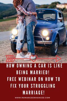 If your car needed repairs or fuel, would you just disregard it? No.   If your If your marriage is struggling, and needs some fixing up and some more fuel to help it to thrive- would you disregard it?- I hope not! Let a Romance Coach help you to reconnect and learn how to speak each other's love languages again in this FREE marriage webinar that compares owning a car to being married! Check it out today and start understanding and improving your marriage today! #waystohelpmymarriage…