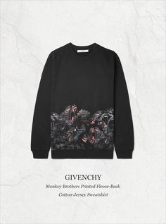Givenchy has an affinity for provocative prints, and the dark monkey design adorning this sweatshirt has become a seasonal signature. This warming piece is cut in Italy from soft fleece-back cotton-jersey and finished with insulating ribbed trims. Style it with black sweatpants and sneakers to give your look a punch of commanding attitude. Shop on #MRPORTER: http://mr-p.co/gNQ5MH