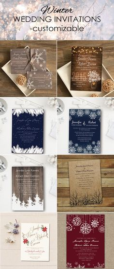 as low as $0.94 amazing winter wedding invitations with several themes like rustic, country and elegant @weddinginvitations