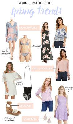 Sharing styling tips for spring's biggest trends: patchwork, off-shoulder, crochet & lavender.