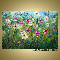 MEADOW Countryside Flowers Oil Impasto Painting Modern Spring Floral Field Contemporary Wall Art by Luiza Vizoli Colorful Paintings, Beautiful Paintings, Watercolor Paintings, Acrylic Painting Techniques, Knife Painting, Texture Painting, Botanical Art, Landscape Art, Painting Inspiration
