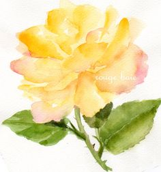 yellow rose Original watercolor painting Floral by TheRedBerry, €19.00