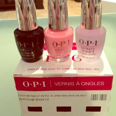 Opi infinity shine three-piece set no light needed Brand-new never used OPI infinity shine three-piece nail care system no light needed you get a topcoat a base coat and the color is Rose against time Makeup