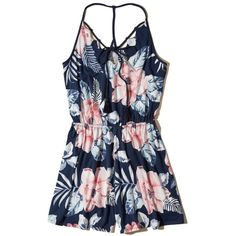 Hollister Tie-Front Knit Romper (318.895 IDR) ❤ liked on Polyvore featuring jumpsuits, rompers, romper, navy floral, navy romper, navy rompers, navy blue rompers, tie-dye rompers and flower print romper