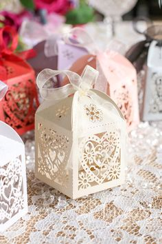 50pcs Love Heart Laser Cut Favor Boxes with Ribbon-Pink Candy Boxes-Wedding Party Favor Box-Ivory Gift Box-Gift Packaging FBL222HRT