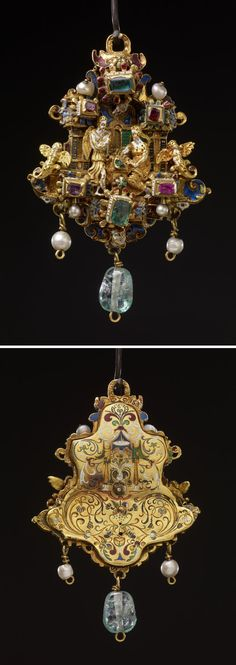 Pendant jewel; gold; centre: Annunciation, figures in full relief between two pilasters, at bases of which are two cherubs as terminal figures; emerald and two rubies above; similar arrangement below, in enamelled settings; background chased with scrolls and coated with opaque and translucent enamels; pendant beryl and two pearls; back plate engraved with floral scrolls, etc.; chalice at bottom, all filled with coloured enamels. Origin: Probably Netherlandish (Antwerp), or German. 1551-1575.