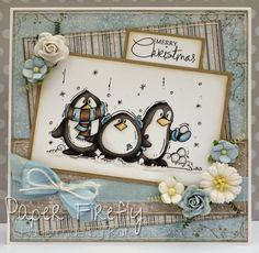Handmade Christmas card featuring a trio of cute penguins (Bugaboo digi stamp) and frosty papers