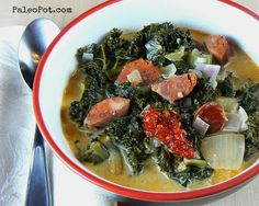 One-Pot Chorizo and Kale Soup. Use soy chorizo! Paleo Recipes Easy, Primal Recipes, Real Food Recipes, Paleo Meals, Easy Meals, Paleo Sauces, Keto Meal, Weeknight Meals, Healthy Cooking