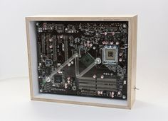 SPECTRO-BOX /voltage - neon tube (transparent filled with neon gas), recycled motherboard, wooden frame cm] - shop Neon Gas, Machine Age, Natural Brown, White Paints, Wooden Frames, Recycling, Instruments, Objects, Tube