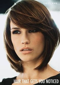 Layered bob with long side swept bangs- this is very close to my natural color.