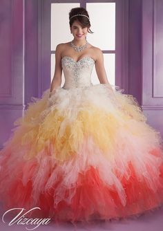 Quinceanera Dress From Vizcaya By Mori Lee Dress Style 89018 Ombre Ruffled Tulle with Beading. Wish I was 15 again just so I could wear it!