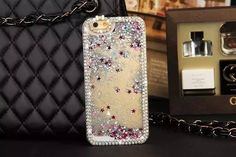 Shiny sandy bright starry case for 4.7inch iPhone 6 and 5.5inch iPhone 6 plus decorated with fancy colored diamond frame